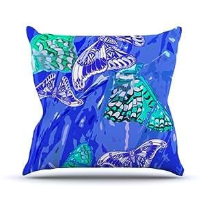 Kess InHouse Vikki Salmela 蝴蝶派对室内/室外抱枕 26L x 26W in. 蓝色 VS1006BOP05