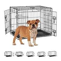 Relaxdays 狗笼 家庭 办公室 汽车狗箱 可折叠 钢栅盒 带浴缸 窝 59.5 x 75 x 53 厘米 黑色 1 件