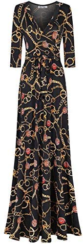 Bon Rosy 女式长袖 V 领花卉大西米亚风印花连衣裙