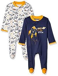 Quiltex 男孩幼儿太空印花可爱新奇连体服 2 件套