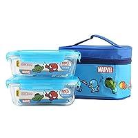 Lock&Lock乐扣乐扣漫威儿童保鲜盒 耐热玻璃饭盒 便当包两件套LLG428S2DS 630ml*2 蓝色