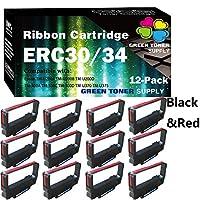 (12 件装,黑红色)GTS 兼容 ERC-30 ERC 30 34 38 ERC-30 色带适用于 Epson ERC38 ERC30 NK506 DPN2700 TMU370 TMU375 打印机