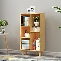 实木脚现代简约书柜格子储物柜屏风餐厅边桌餐具柜玄关鞋柜E1级板材收纳柜学生书柜 (榉木色 5格)
