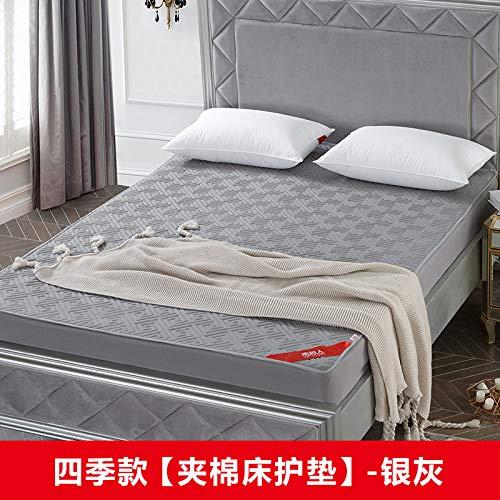 宝被 床笠床护垫加厚夹棉床罩单件床套席梦思床垫保护套1.5/1.8m 臻品款床笠床护垫:银灰 180cmx200cm+30cm