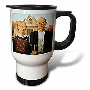 tm_130186 BLN Assorted Works Of Fine Art Collection - American Gothic by Grant Wood - Travel Mug 白色 14oz Travel Mug