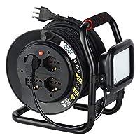 Electraline 49035 专业电缆鼓 带延长线和 LED 投影机 10 W 4 个插座 10/16 A 带固定鼓 电缆横截面 3G1.5 20 米