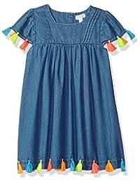 Mud Pie 女婴条纹流苏盖袖休闲连衣裙