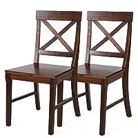 百伽 越南原装进口实木餐椅餐厅简约相思木餐椅子55387 一对【亚马逊自营,供应商配送】