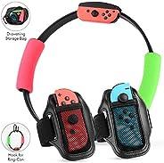 Nintendo Switch Ring Fit Adventure 配件套件,带 2 个可调节腿带,2 个柔软环形握把,2 个环形扣钩和 1 个储物袋(不含 Joy-Cons 和 Ring-Cons )
