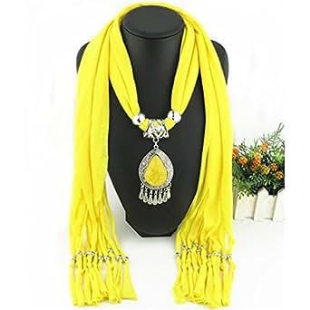 ETHNIC STYLE 水滴吊坠流苏时尚围脖项链 黄色 Approx. 180 cm