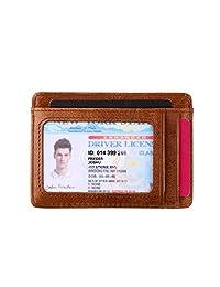 超薄钱包 RFID 屏蔽卡套真皮信用卡套前口袋钱包