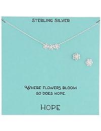 纯银花朵式项链耳环珠宝套装,18 英寸