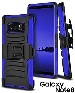 Note 8 手机壳,三星 Galaxy Note 8 手机壳 CellJoy [*坚固的混合] ((ShockProof)) 加强防撞击 [重型] 保护支架盖[锁定旋转皮带夹皮套组合]SM-NT8-URH-BL 蓝色