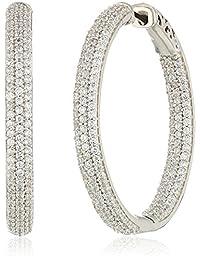 标准纯银方晶锆石椭圆形环状耳环