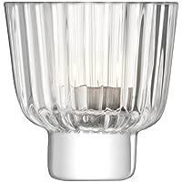 LSA International PT09 褶式透明小圆蜡烛托,高9.5厘米