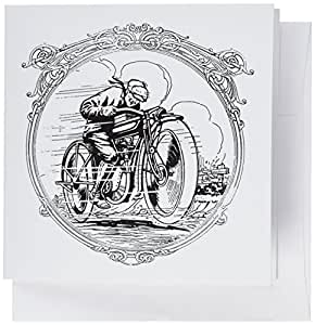 3dRose Greeting Cards, Black and White Motorcycle, Set of 6 (gc_34968_1)