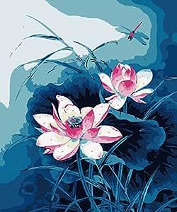 Gohipang CX-135/水百合花经典中国墨水花朵 DIY 数字油画数字油画 水彩手绘帆布印刷海报和墙壁艺术室内装饰 样式-3 Frame