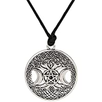 Lemegeton Knot Triple Moon Goddess Pentacle 可调节绳链吊坠男式项链
