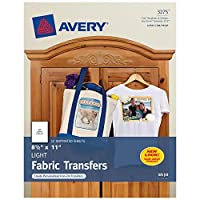 avery 3275 personal creations inkjet light t-shirt iron-on transfers white 12 sheets pack