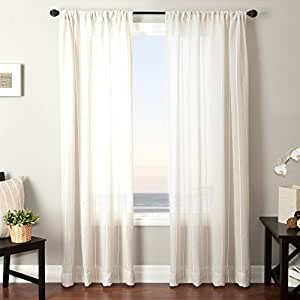 """Softline Home Fashions Bahamas 6 Series Window Curtain/Drape/Panel/Treatment Traditional Striped Design with Rod Pocket, 50"""" x 84"""", Natural"""