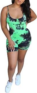 OLUOLIN 女式夏季性感细肩带紧身连身衣无袖扎染连体短款连身衣