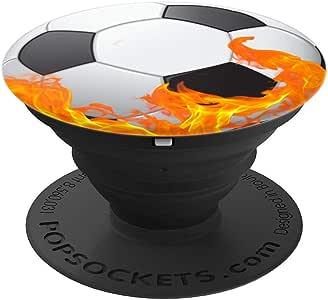 燃烧足球火焰 PopSockets 足球握把和支架,适用于手机和平板电脑260027  黑色
