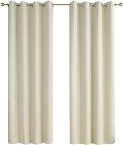 Rama Rose 窗帘 遮光 隔热 纯色 遮光帘 带孔眼 适合卧室、客厅、137.16 厘米宽 X 213.36 厘米长的一套窗帘 ()