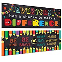 Sproutbrite 教室横幅/海报装饰品 - 教育、激励和激励生长心的教室大厦 - 2 个海报包 - 33 x 99 cm 每个