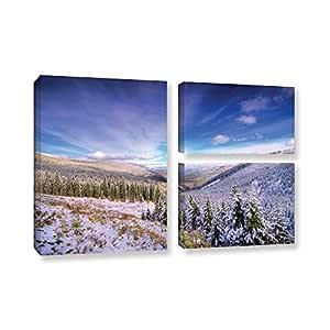 ArtWall 3 件龙偶 Dumitrascu's Winter Lands Ii 画廊装裱油画艺术品 蓝色 24X36 0dum036g2436w