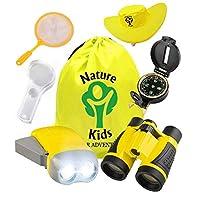 Adventure Kids - 户外探险家套装,儿童玩具双筒望远镜、手电筒、指南针、放大镜、蝴蝶网和背包。适合生日、露营、远足和教育套装 Explorer Kit 黄色