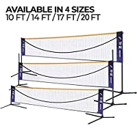 FBSPORT 可折叠羽毛球网架便携式室内户外羽毛球网套装带支架和手提袋适用于排球足球网球