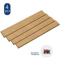 软木公告板,4 件矩形无框多功能软木贴纸适用于办公室、学校、家庭备忘录或装饰,2x15 英寸(约 5.1 x 38.1 厘米),35 个插销,用于墙壁自粘