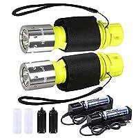 HECLOUD专业潜水手电筒,带电池和充电器,IPX8防水明亮LED潜水艇灯,适用于潜水初学者水下户外运动(黄色)(2件装)
