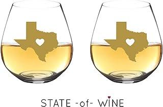 State -of- WIne 不易破损酒杯可用洗碗机清洗 | 套装 | 优雅塑料无柄酒杯 | 共聚酯纤维 | 可重复使用 | 送给德克萨斯州加利福尼亚州的理想礼物 Texas | White Heart