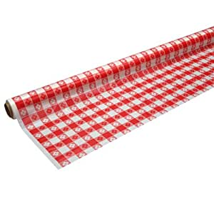 "Party Essentials 耐用塑料宴会桌巾卷,21 种颜色可选,40英寸(约101.6厘米) x 150英尺(约45.7米),黑色 红条纹 40"" x 100' 4010RDG"