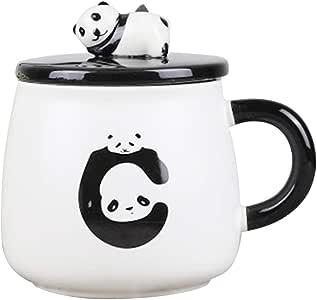 熊猫陶瓷杯,含杯口和汤匙,12 盎司 白色 D