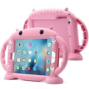 Schen 儿童通用 iPad 保护套,[不含双酚 A]硅胶保护套带自立和侧手柄,可爱的保护套 9.7 英寸防震 for iPad Mini 1/2/3/4