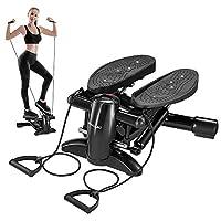 DACHUANG 运动步进器,迷你有氧步机带显示屏,低噪音健身步进器包括阻力带,可按摩健身房训练踏步轴承,重量140千克
