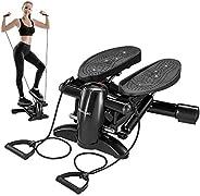 DACHUANG 運動步進器,迷你有氧步機帶顯示屏,低噪音健身步進器包括阻力帶,可按摩健身房訓練踏步軸承,重量140千克