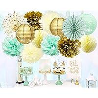 薄荷金色生日装饰薄荷绿金色圆点纸扇组织纸质绒球蜂窝状球试用婴儿派对装饰薄荷色 金色 *次生日新娘派对装饰