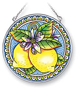 Amia Suncatcher Featuring a Lemmon Design, Hand Painted Glass, 4-1/2-Inch Circle