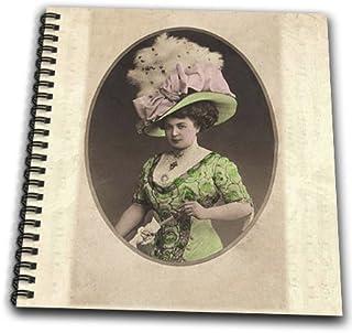 3dRose db_193209_1 大帽子绘图书中的女士老照片印刷品,20.32 x 20.32 cm