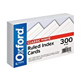 """Oxford Ruled Index Cards, 4"""" x 6"""", White, 300 pack (10001EE)"""