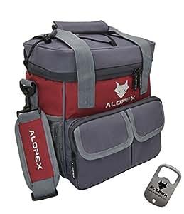 alopex 冷藏包不 anti-leakage 保温户外午餐袋带可拆卸肩带可调整 红色 12-Can