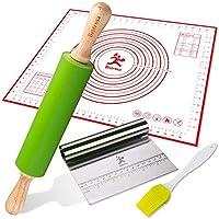 用于烘焙组合的滚别针、糕点垫套件带筷子/刮刀和烘烤刷,大号 48.26x58.42 厘米可重复使用的硅胶防滑防滑防滑防滑防滑垫带软糖测量/面团烘焙套装
