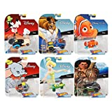 2019 Hot Wheels 6 件套,Disney/Pixar 角色汽车总动员 1/64 可收藏的压铸玩具汽车,含Maui、Goofy、Beast、Dumbo、Tinkerbell、Nemo