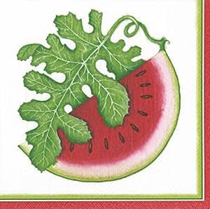 Caspari 餐巾纸西瓜水果主题派对纸巾餐巾/甜点餐巾 多种颜色 Luncheon Pack of 20 14530L