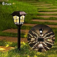 Maggift 6 流明太阳能通道灯太阳能花园灯户外太阳景观灯,适用于草坪庭院院路径行道,6 只装