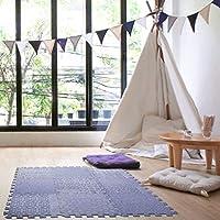 Dooboe 互锁泡沫垫 - 泡沫地砖 - 女宝宝泡沫垫 - EVA 泡沫 - 瑜伽、俯卧时间、爬行和保护地板 - 紫色图案