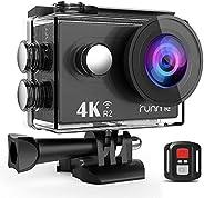 RUNME R2 运动相机超高清防水摄像机12MP Wi-Fi 相机 170 度广角 2.4G 遥控器加 1050mAh 充电电池